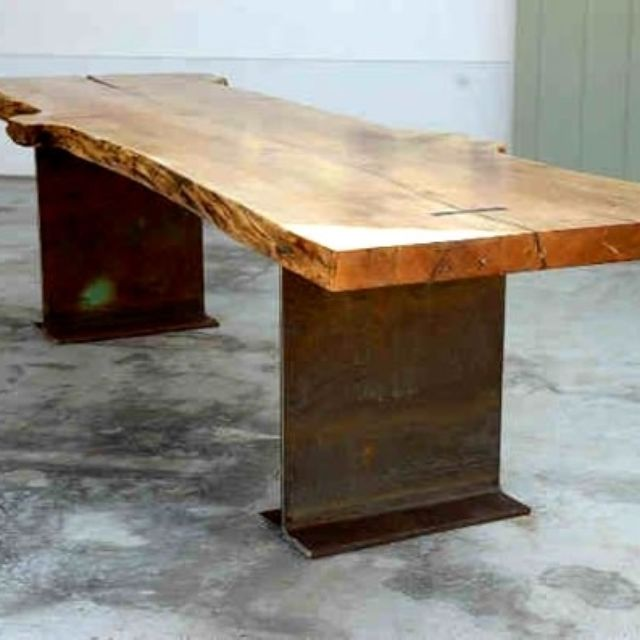Beautiful X X Thick Burled Maple Slab Dining Or Conference Table With Recycled Steel  I Beam Legs.