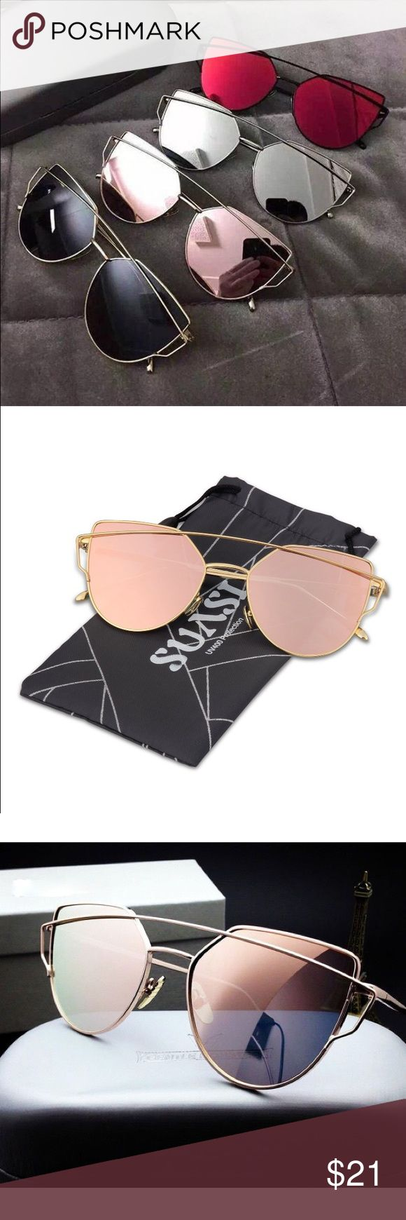 New Rose Gold Reflective Mirrored Sunglasses! Also available in my closet in the silver color! Discounted only on bundles and I don't trade  Accessories Sunglasses