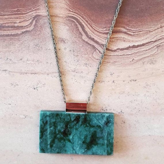 Indian Green Marble Necklace in golden metal by Marblestsoukli
