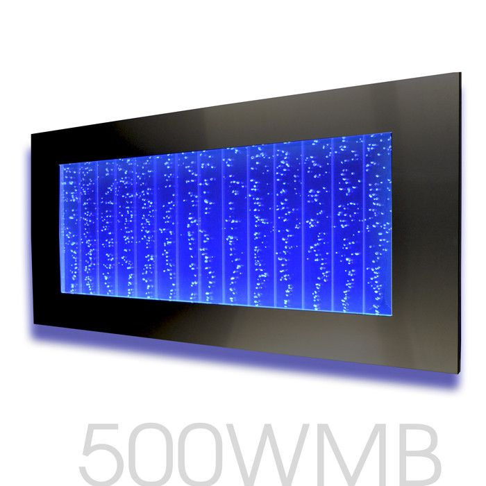 "Horizontal Wall Mount LED Bubble Wall Indoor Fountain Water Feature 45"" 500WM Black / Dark Frame"
