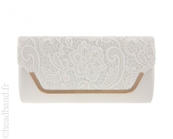 Pochette Soirée Beige : Pochette dentelle ivoire accessoires de mode