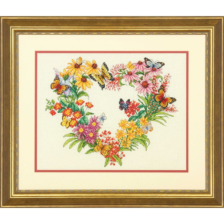 Butterflies and blossoms comprise the Wildflower Wreath by Dimensions. Bring the essence of summer into your home with this delightful counted cross stitch picture.