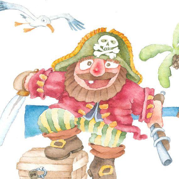 Pirate 5, Giclee print of original watercolor child illustration, whimsical children's art, nursery decor.