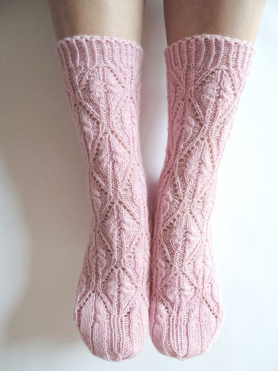 Luxurious hand knit pastel dusty pale powder blush soft pink wool socks. Beautiful romantic lace pattern taken from the Japanese 250 pattern book.