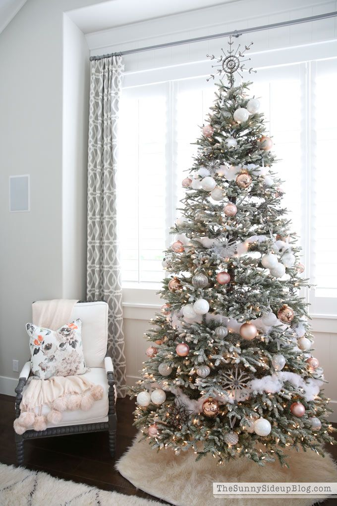 Artificial Frosted Pink Silver And White Christmas Tree
