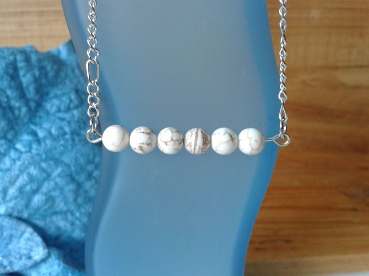 Gemstone Howlite bar necklace by jennsbling on Etsy