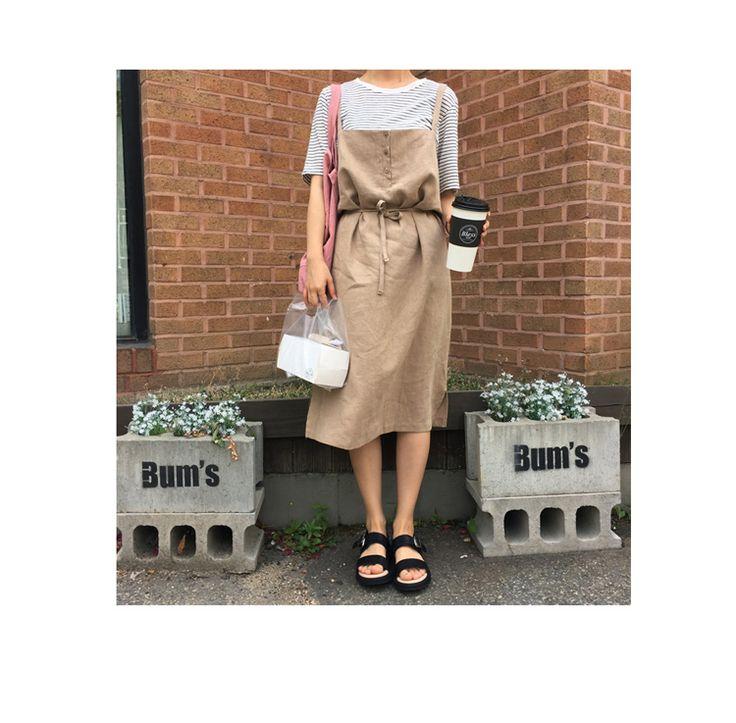 Aliexpress.com: Koop 2017 Zomer Effen Alle Match Losse Knop Lijn A lijn Verse College Wind Vrouwelijke Jurken van betrouwbare female dress leveranciers op Eyam Fashion