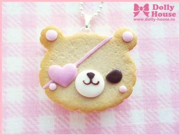 Bandit Bear Cookie Necklace by Dolly House by SweetDollyHouse on Etsy