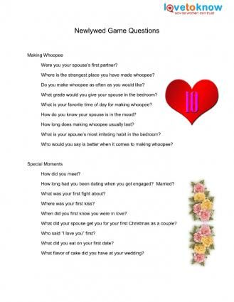 Newlywed Game Printable Questions