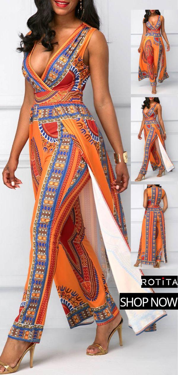 Dashiki Print Overlay Embellished V Neck Orange Jumpsuit