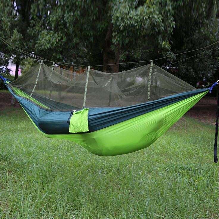 Portable High Strength Parachute Fabric Camping Hammock Hanging Bed With Mosquito Net Sleeping Hammock outdoor sleeping  bag