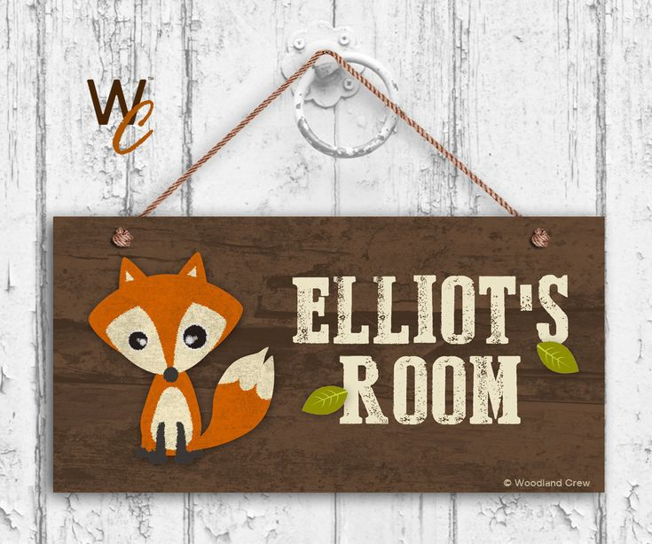 """Fox Sign, Woodland Personalized Sign,Kid's Name, Kids Door Sign, Baby Nursery Wall Decor, Weatherproof, 5"""" x 10"""" Sign, Made To Order by WoodlandCrew on Etsy"""