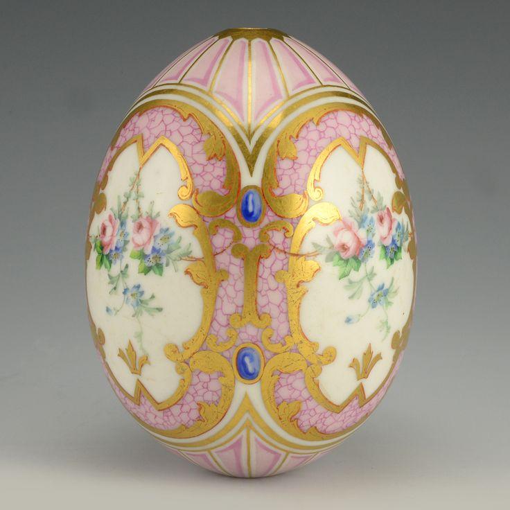 Russian Porcelain Floral Easter Egg | John Atzbach Antiques