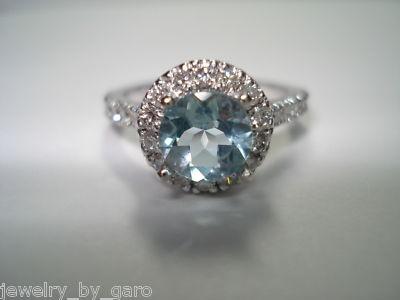 Handmade aquamarine diamond engagement ring