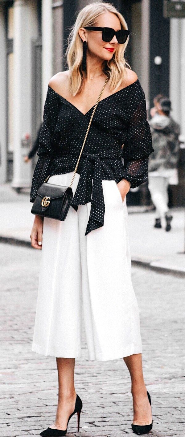 #fall #outfits white off-shoulder long-sleeve top and white capri pants