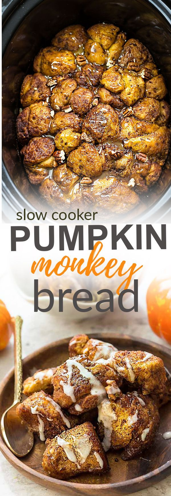 This recipe for Slow Cooker Pumpkin Monkey Bread makes the perfect easy breakfast or brunch. Best of all, it's so easy to make in your crock-pot with refrigerated cinnamon roll dough and it's full of cozy fall spices and a pumpkin cheesecake filling. So d
