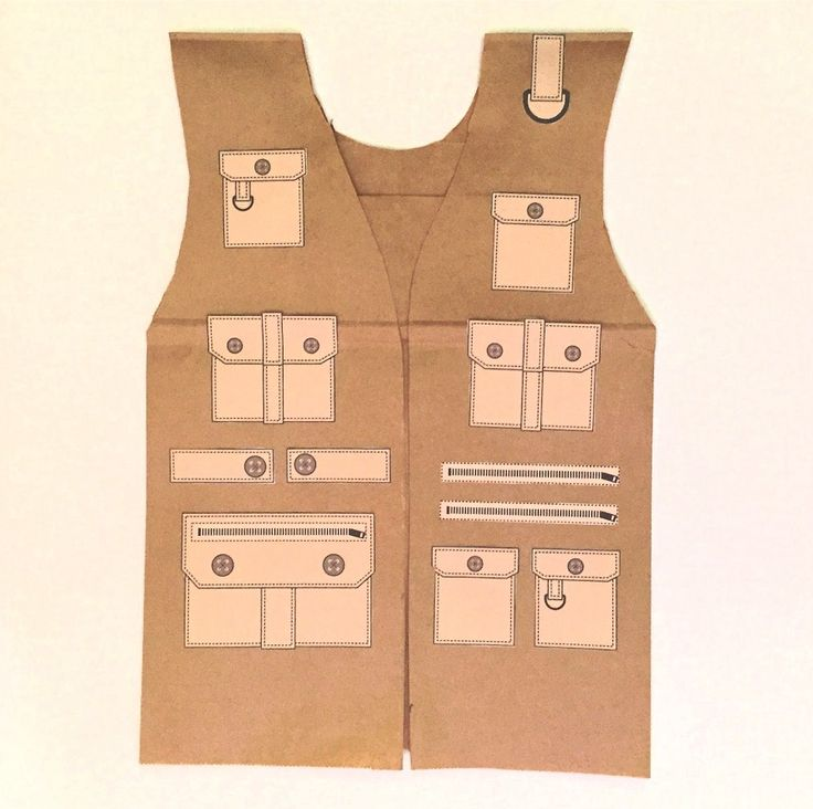 Paper Bag Safari Vest @ http://www.freekidscrafts.com/paper-bag-safari-vest/ PATTERN @ http://www.freekidscrafts.com/wp-content/uploads/safari-vest-pattern.jpg PRINTABLE POCKETS @  http://www.freekidscrafts.com/wp-content/uploads/safari-vest-printable.jpg