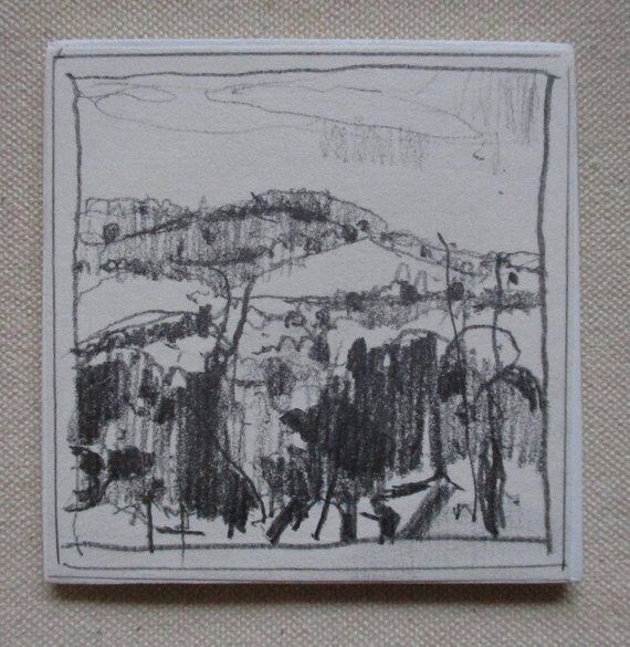 Original Tiny Plein Air Landscape Pencil Drawing on Panel ...