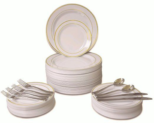 "360 PIECE / 60 guest ""OCCASIONS"" Wedding Disposable Plastic Plate and Silverware Combo (ivory/Gold rim plates) Ivory/Gold rim Color on Silverware, utensils are always silver coated. Made out of high gloss premium rigid disposable plastic. Great for Entertaining"