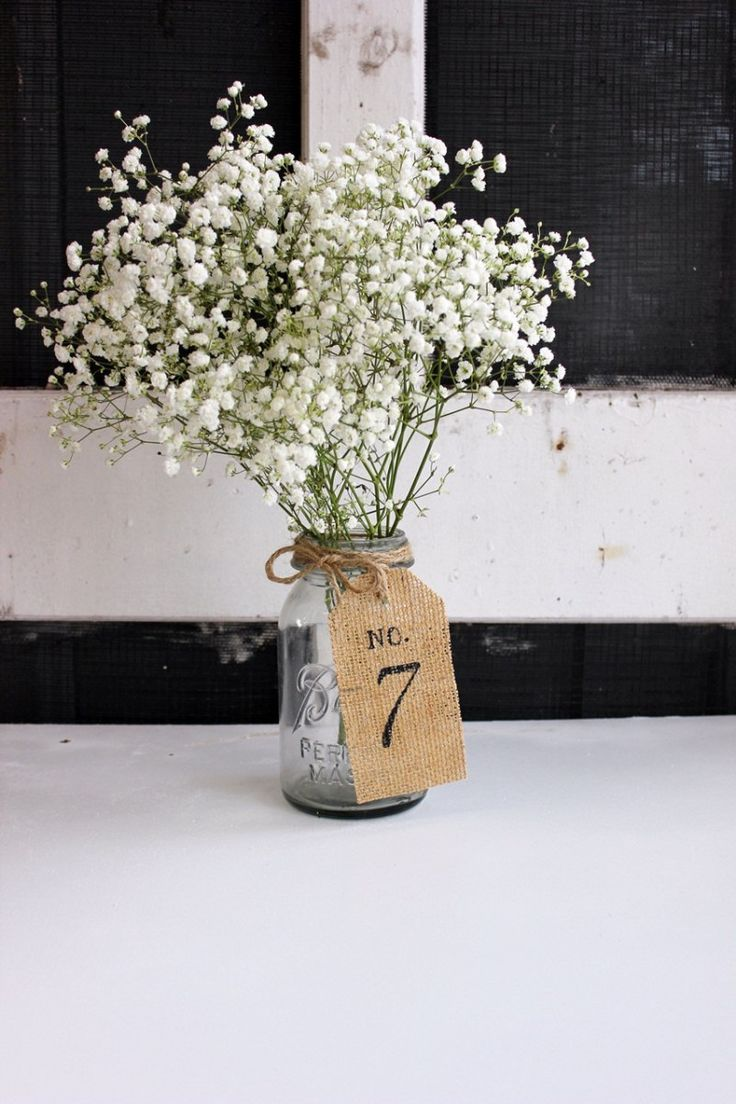 baby's breath centerpiece table number in mason jar