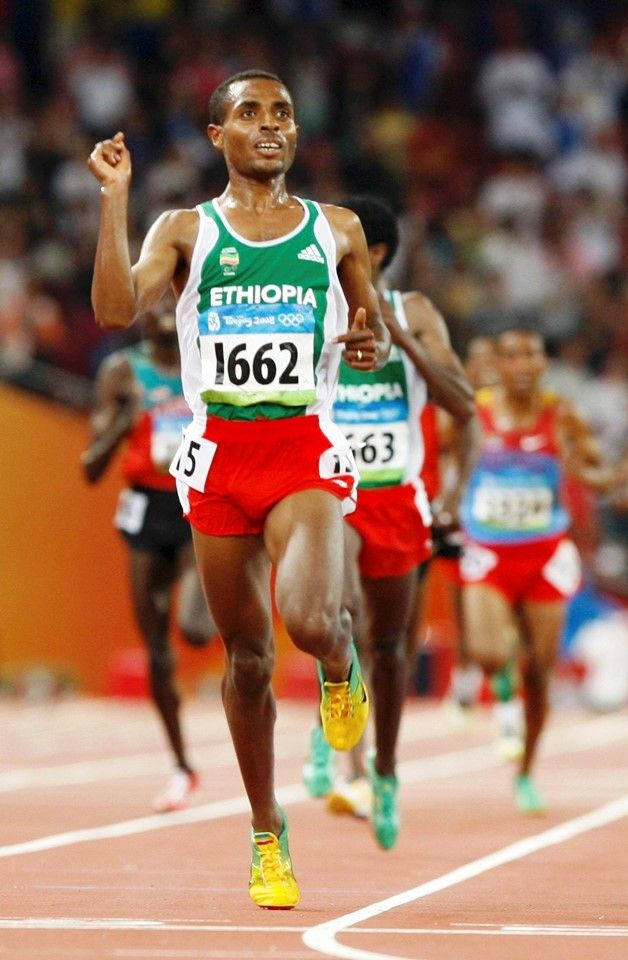 Kenenisa Bekele of Ethiopia won the 5,000 and 10,000 metre events at the 2008 Beijing Olympics, each in Olympic record times