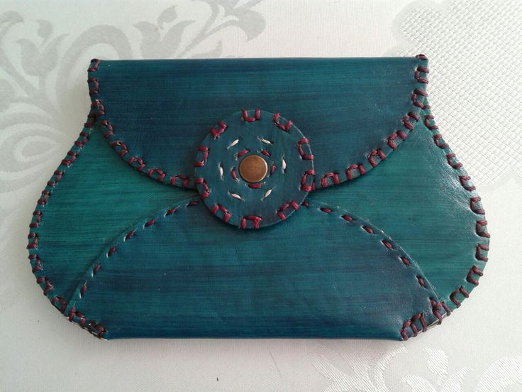 Deri mavi el çantası