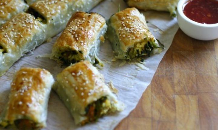 Pumpkin, spinach and feta rolls recipe