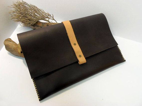 Leather Document Bag Leather Laptop bag by VakalisCreations