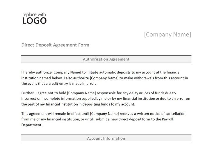 Direct Deposit Form Word Template http\/\/myexceltemplates - business agreement form