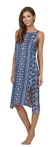 Get set for an unforgettable look with this gorgeous indigo print maxi dress. Wide side splits and a high neck design, this is one resort dress you need in your life. #JETSSwimwear