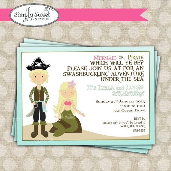Mermaid and Pirate Birthday Party printable by SimplySweetParties, $12.00