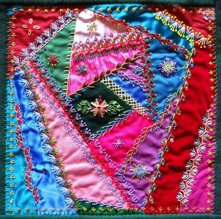 Crazy Quilting Stitches Patterns : 17 Best images about Crazy Quilts on Pinterest Stitches, Quilt pillow and Crazy quilt patterns