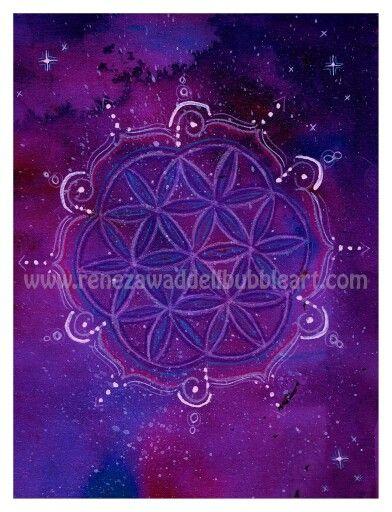 Flower of life series  Cosmic flower  www.renezawaddellbubbleart.com