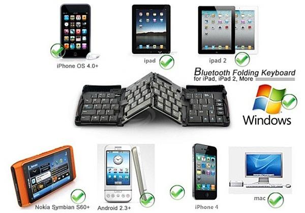 GK308-E Mini Portable Folding Styles Mini Wireless Bluetooth 3.0 Keyboard Silicon Keycaps -Black