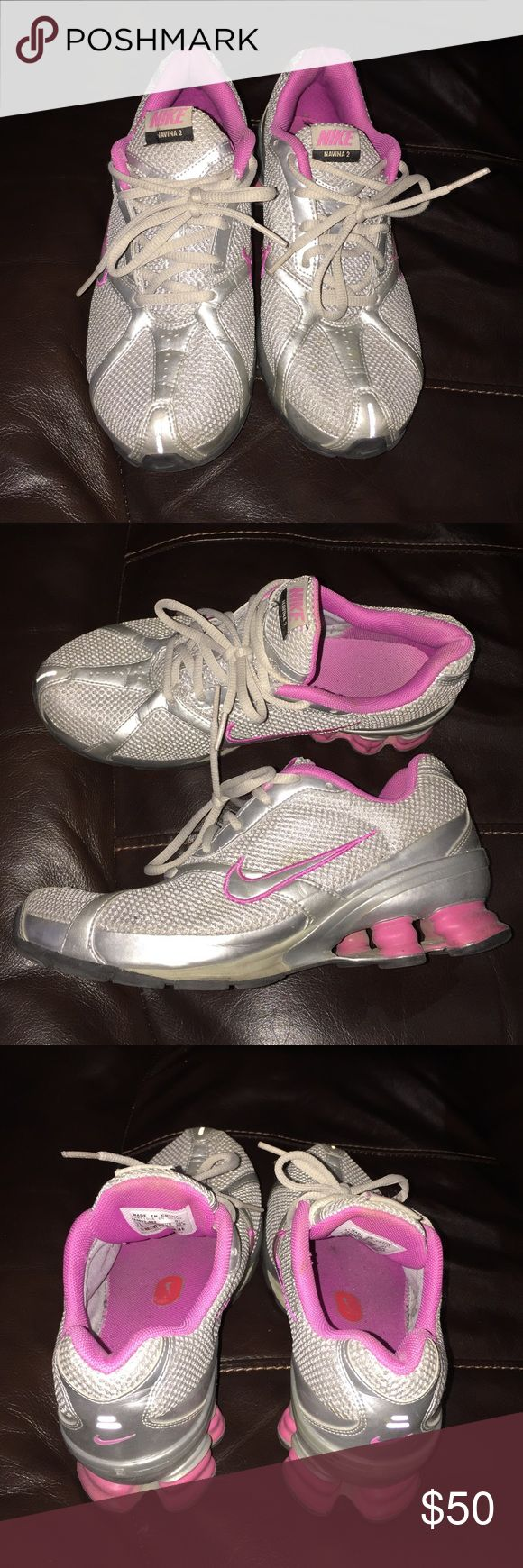 Pink and Gray Nike Shocks. Nike shocks. A bit worn but still have a lot of life left in them. Smoke and pet free home.            ✨price is not firm make me an offer! ✨ Nike Shoes Athletic Shoes