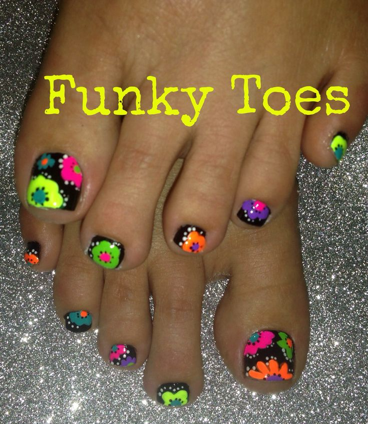 Neon toenail art flower design