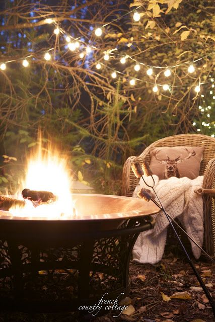 French Country Cottage Christmas Home Holiday Decorating outdoor fire pit sitting area