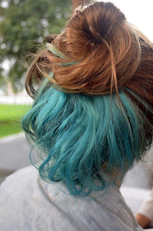 bun pretty hair dyed hair blue hair messy bun blue dye. I like how it's the under layer.