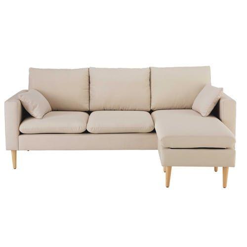 Canapé d'angle modulable 3/4 places en tissu beige