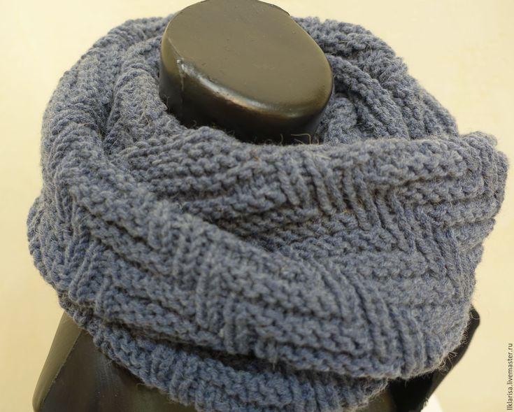 """Купить шарф-снуд """"протектор"""" - серый, однотонный, шарф мужской вязаный, серый снуд"""