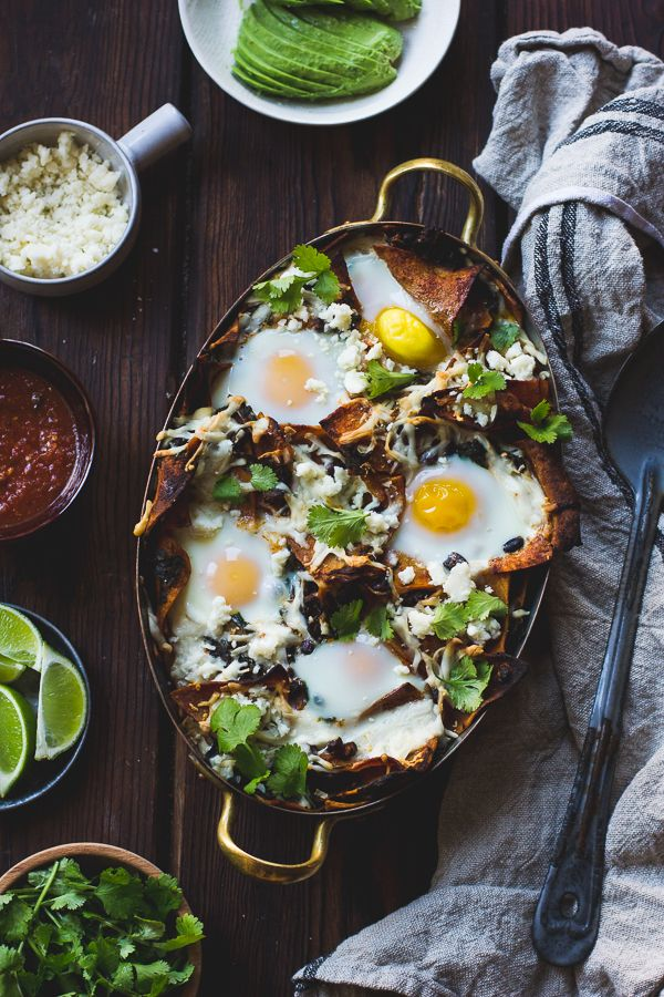// baked chilaquiles with black beans and kale