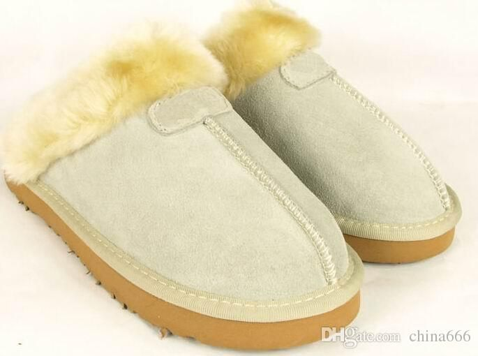 2014 new Factory Outlet Australia Classic Women Men Cow Leather Snow Adult Slippers US5-13 Bag Logo pink sandy chestnut chocolate