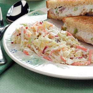 pineapple coleslaw recipe...quick and easy...from taste of home simple and delicious cookbook