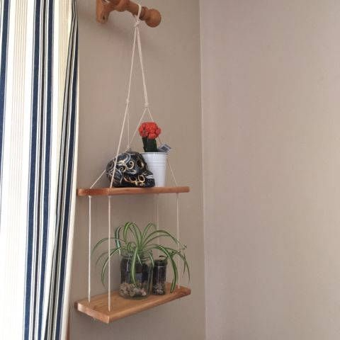 Handmade oak wood plant hanger 2 tablets ceiling hang