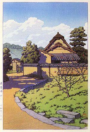 West Village, Horyuji Temple  by Kawase Hasui, 1956  (published by Watanabe Shozaburo)