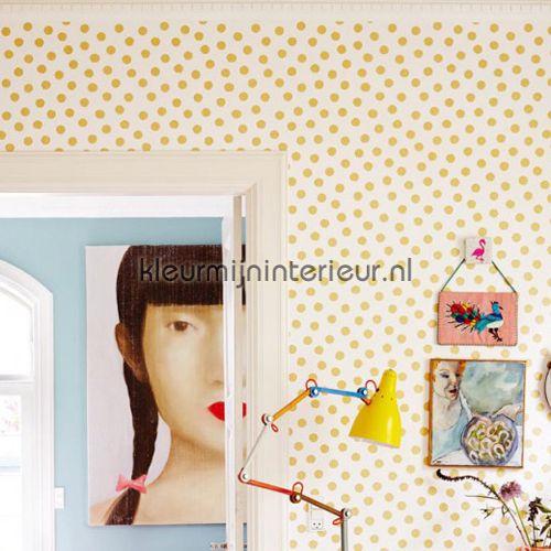 Gouden glitter stippen 359060 | behang Rice van Eijffinger | kleurmijninterieur.nl