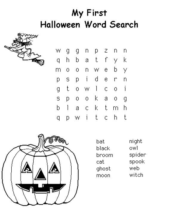 halloween word search puzzle - Halloween Vocab Words