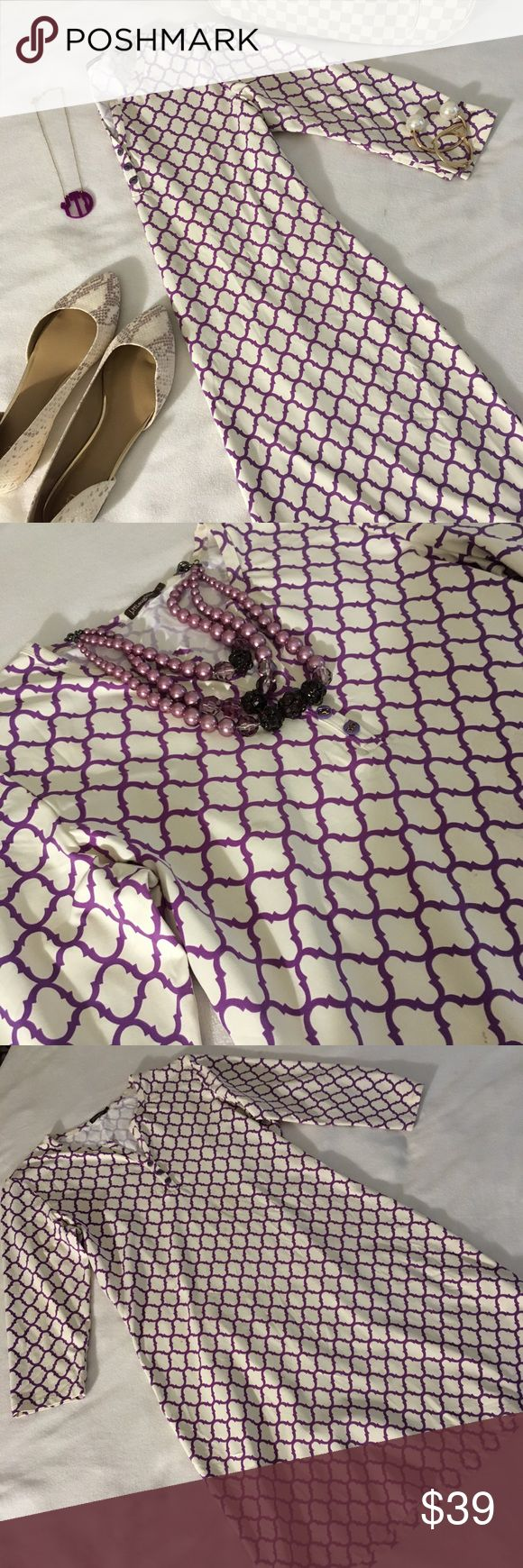 J. McLaughlin Purple and Cream & Purple Tile Dress J. McLaughlin Purple and Cream & Purple Tile Print Dress In excellent used condition. J. McLaughlin Dresses