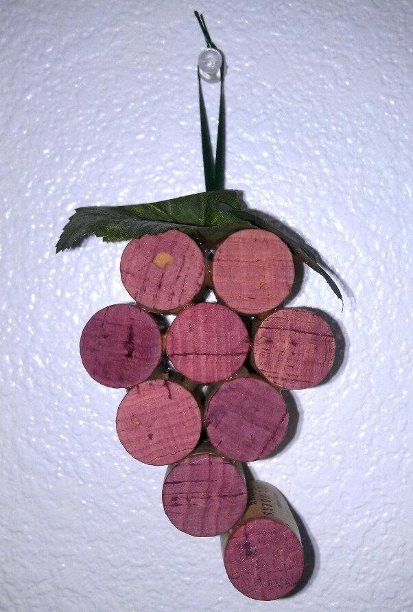 Wine cork grape bunch ornament.