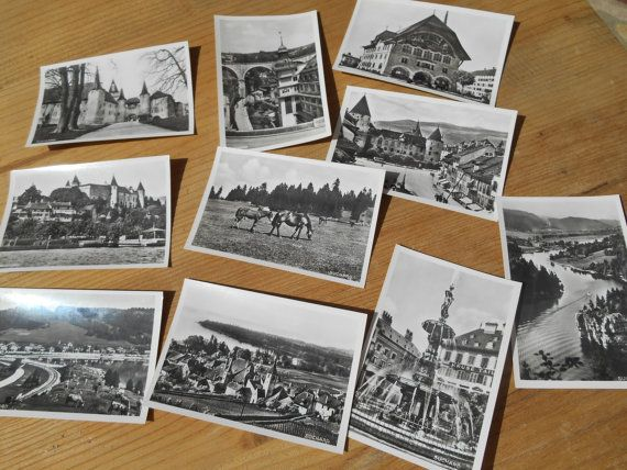 10 unused black and white bromide photos of Switzerland - Vintage 1939 Photos made by Suchard Chocolate Company tagged . Showing Lakes Churches